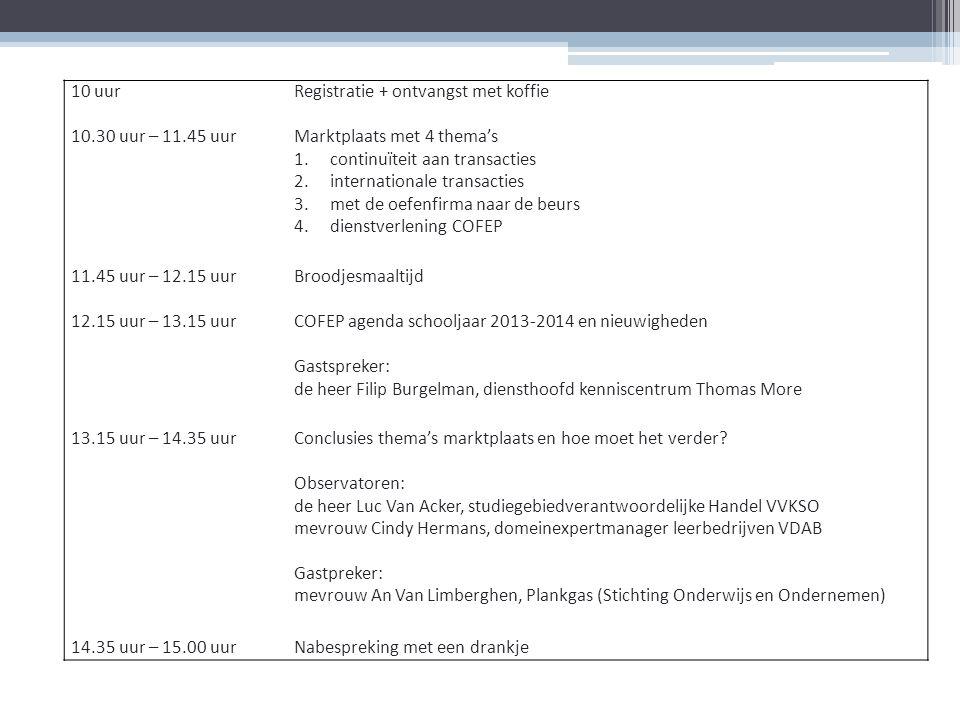 10 uurRegistratie + ontvangst met koffie 10.30 uur – 11.45 uurMarktplaats met 4 thema's 1.continuïteit aan transacties 2.internationale transacties 3.