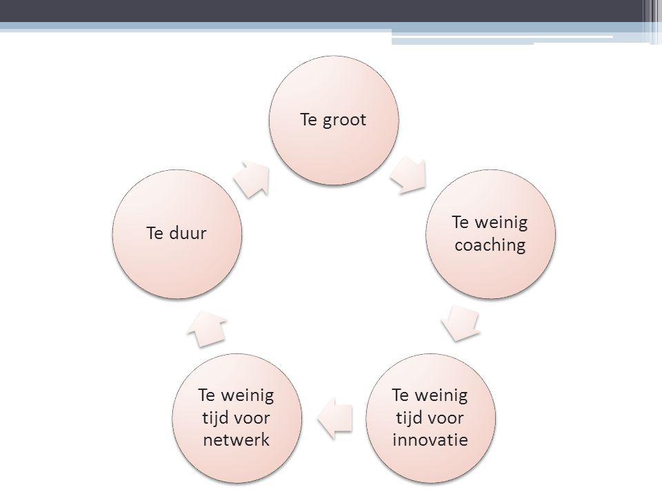 Te groot Te weinig coaching Te weinig tijd voor innovatie Te weinig tijd voor netwerk Te duur