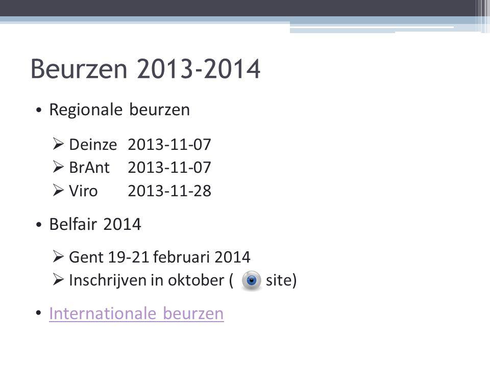 Beurzen 2013-2014 Regionale beurzen  Deinze 2013-11-07  BrAnt 2013-11-07  Viro 2013-11-28 Belfair 2014  Gent 19-21 februari 2014  Inschrijven in