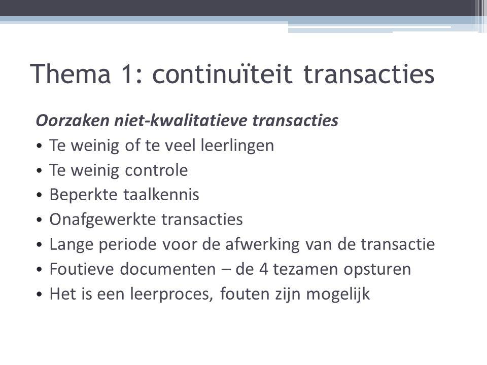 Thema 1: continuïteit transacties Oorzaken niet-kwalitatieve transacties Te weinig of te veel leerlingen Te weinig controle Beperkte taalkennis Onafge