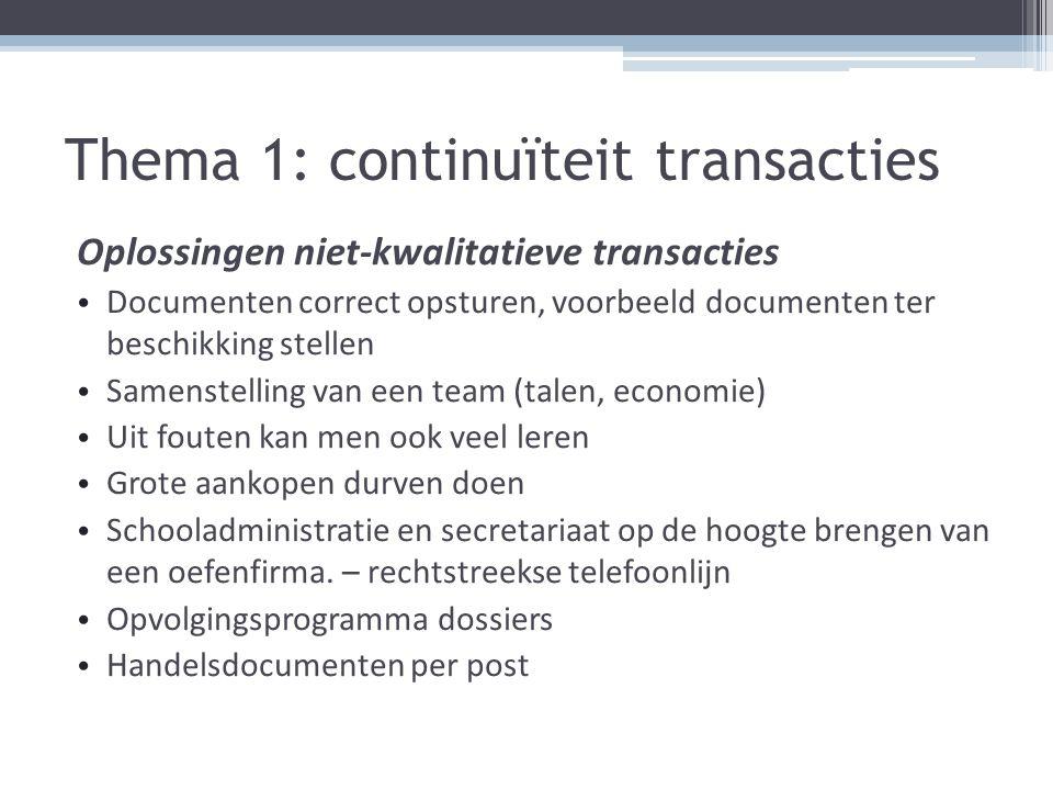 Thema 1: continuïteit transacties Oplossingen niet-kwalitatieve transacties Documenten correct opsturen, voorbeeld documenten ter beschikking stellen