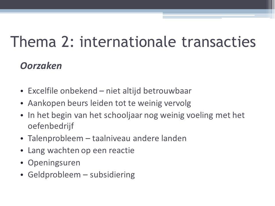 Thema 2: internationale transacties Oorzaken Excelfile onbekend – niet altijd betrouwbaar Aankopen beurs leiden tot te weinig vervolg In het begin van