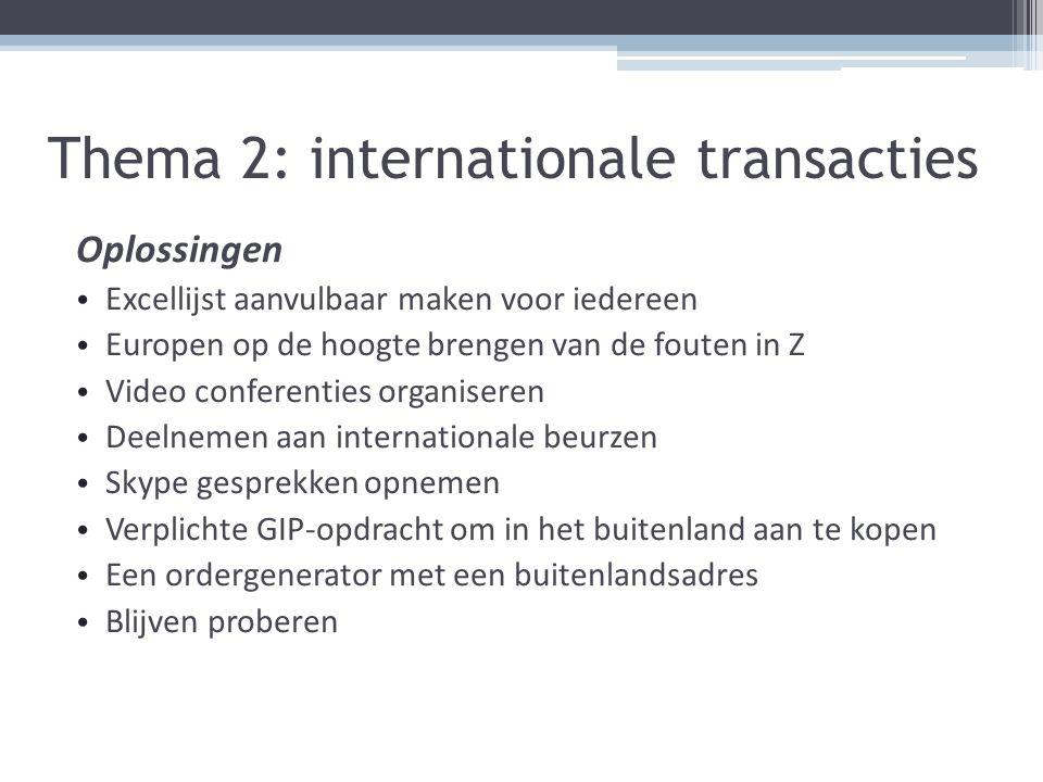 Thema 2: internationale transacties Oplossingen Excellijst aanvulbaar maken voor iedereen Europen op de hoogte brengen van de fouten in Z Video confer