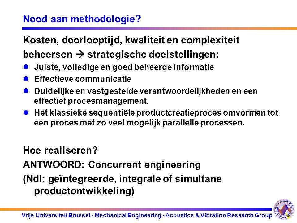 Vrije Universiteit Brussel - Mechanical Engineering - Acoustics & Vibration Research Group Nood aan methodologie? Kosten, doorlooptijd, kwaliteit en c