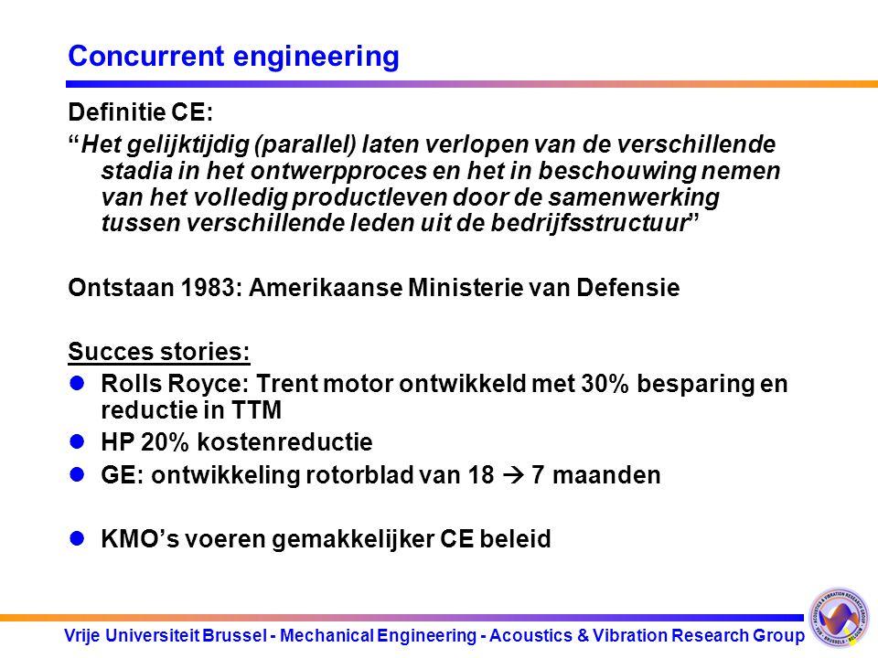 """Vrije Universiteit Brussel - Mechanical Engineering - Acoustics & Vibration Research Group Concurrent engineering Definitie CE: """"Het gelijktijdig (par"""