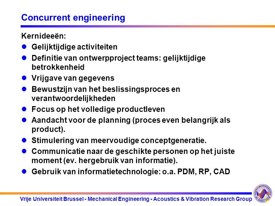 Vrije Universiteit Brussel - Mechanical Engineering - Acoustics & Vibration Research Group Concurrent engineering Kernideeën: Gelijktijdige activiteit