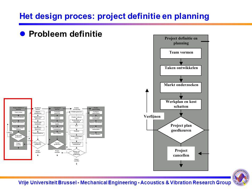 Vrije Universiteit Brussel - Mechanical Engineering - Acoustics & Vibration Research Group Het design proces: project definitie en planning Probleem d
