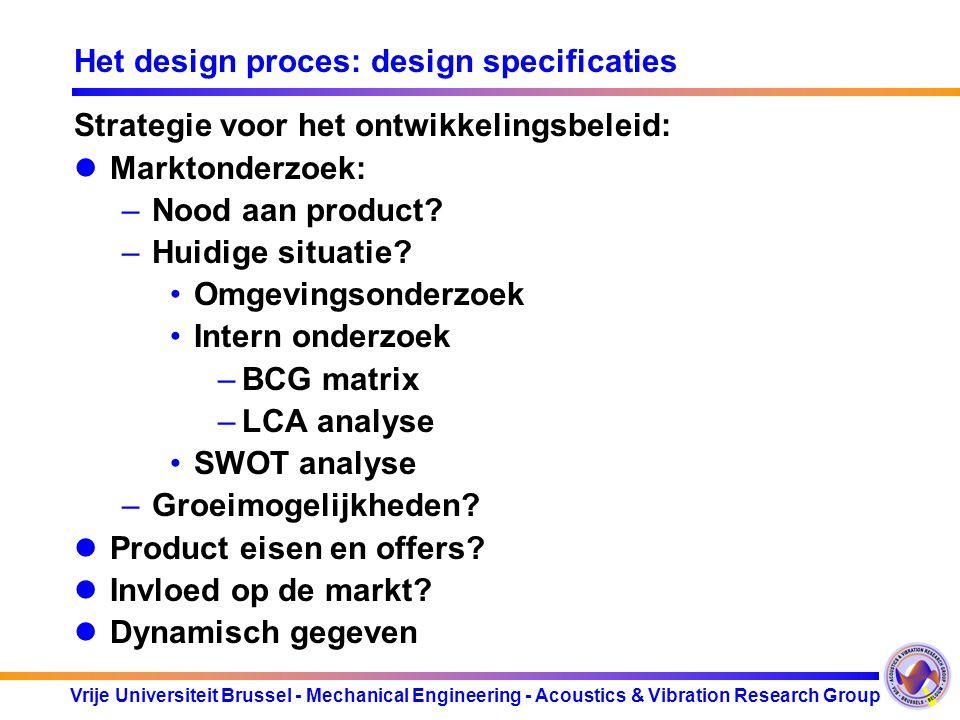Vrije Universiteit Brussel - Mechanical Engineering - Acoustics & Vibration Research Group Het design proces: design specificaties Strategie voor het