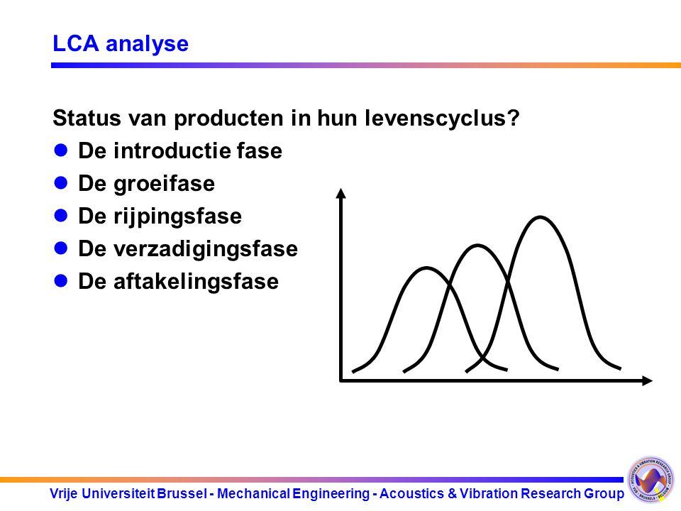 Vrije Universiteit Brussel - Mechanical Engineering - Acoustics & Vibration Research Group LCA analyse Status van producten in hun levenscyclus? De in