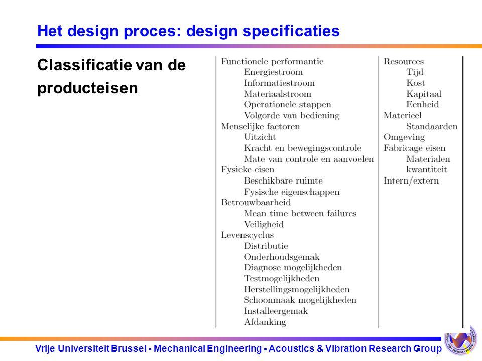 Vrije Universiteit Brussel - Mechanical Engineering - Acoustics & Vibration Research Group Het design proces: design specificaties Classificatie van d