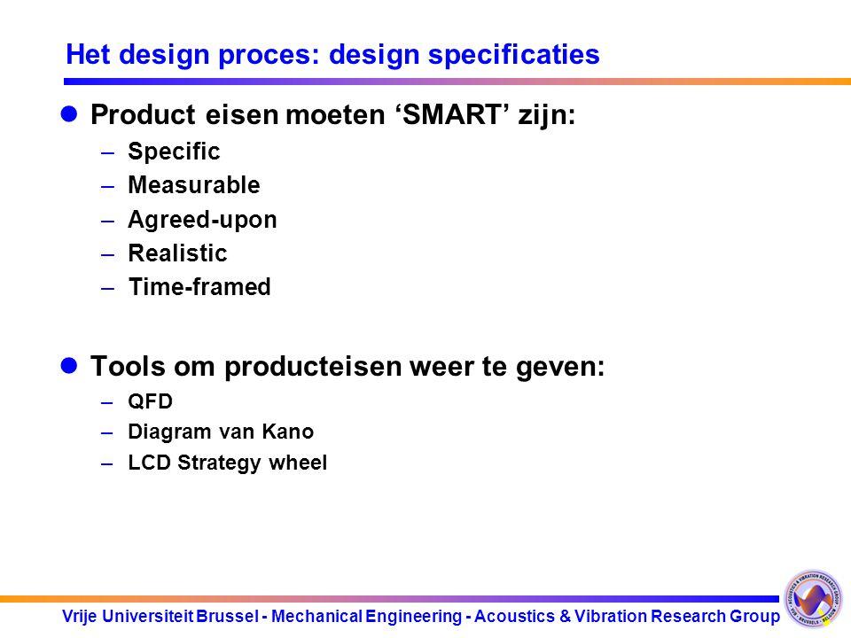 Vrije Universiteit Brussel - Mechanical Engineering - Acoustics & Vibration Research Group Het design proces: design specificaties Product eisen moete