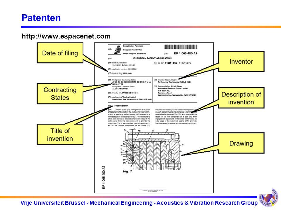 Vrije Universiteit Brussel - Mechanical Engineering - Acoustics & Vibration Research Group Patenten http://www.espacenet.com