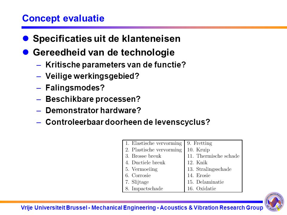 Vrije Universiteit Brussel - Mechanical Engineering - Acoustics & Vibration Research Group Concept evaluatie Specificaties uit de klanteneisen Gereedh