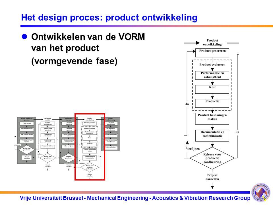 Vrije Universiteit Brussel - Mechanical Engineering - Acoustics & Vibration Research Group Het design proces: product ontwikkeling Ontwikkelen van de