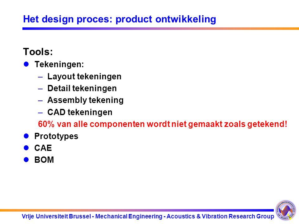 Vrije Universiteit Brussel - Mechanical Engineering - Acoustics & Vibration Research Group Het design proces: product ontwikkeling Tools: Tekeningen: