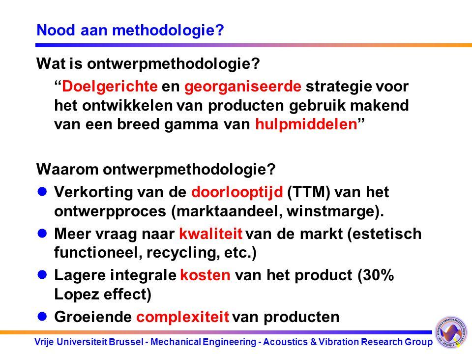 "Vrije Universiteit Brussel - Mechanical Engineering - Acoustics & Vibration Research Group Nood aan methodologie? Wat is ontwerpmethodologie? ""Doelger"