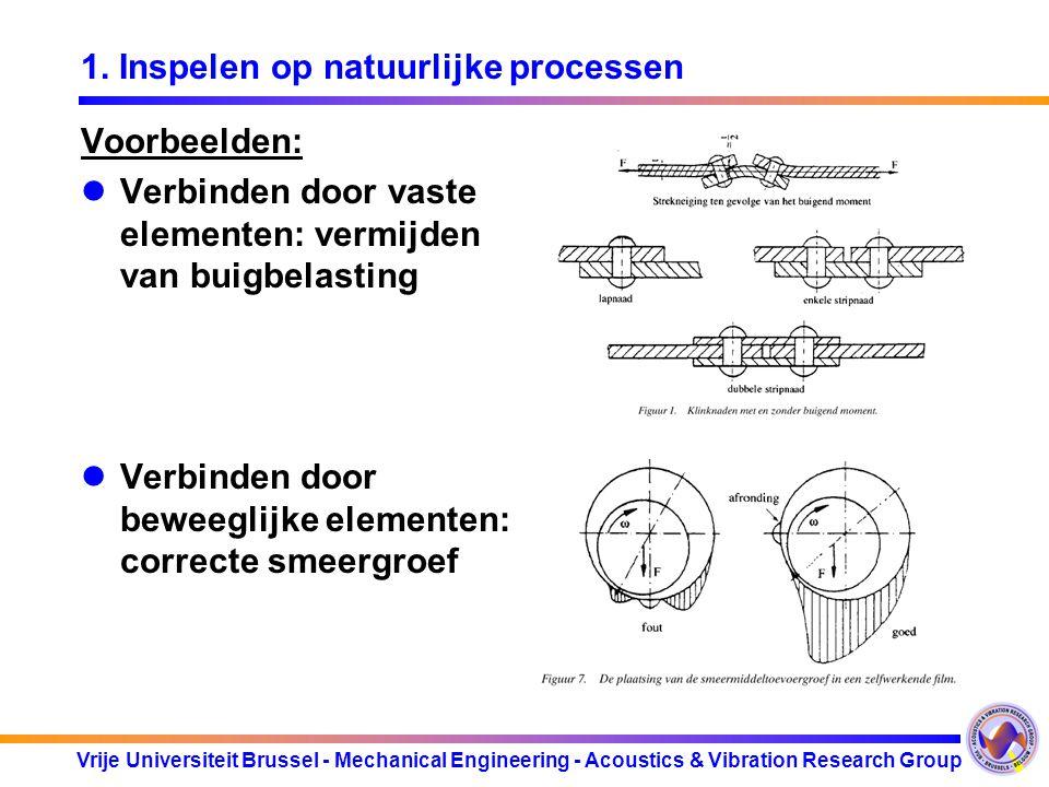 Vrije Universiteit Brussel - Mechanical Engineering - Acoustics & Vibration Research Group 1. Inspelen op natuurlijke processen Voorbeelden: Verbinden
