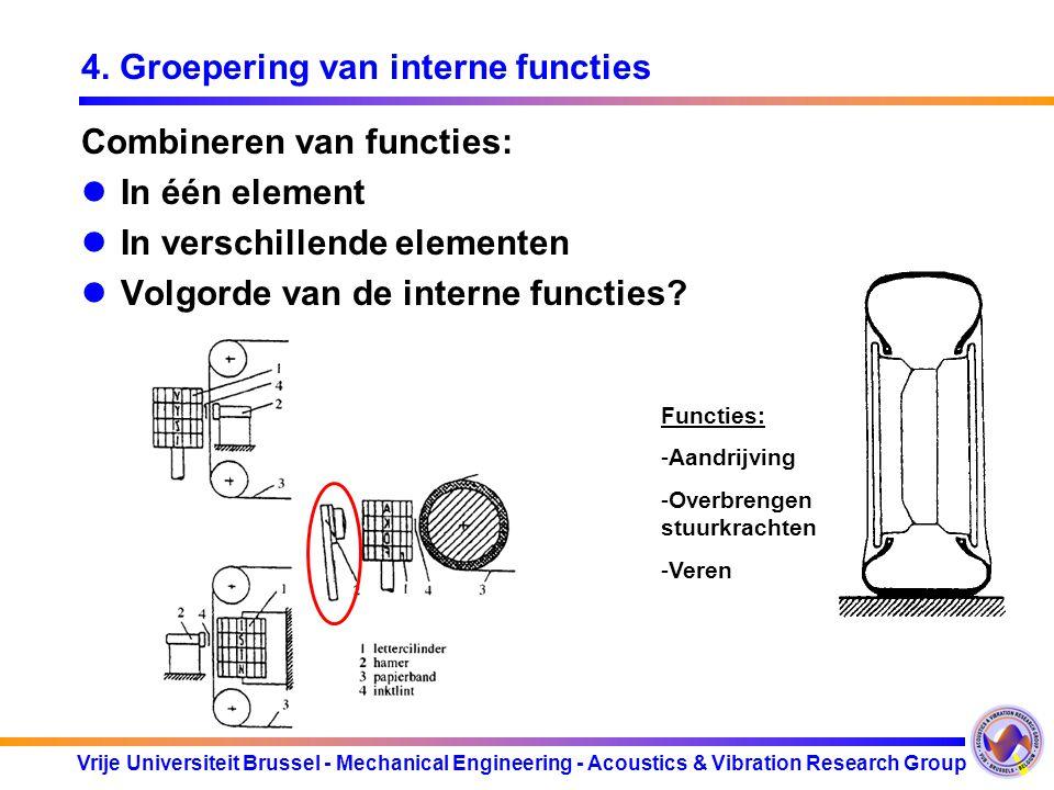 Vrije Universiteit Brussel - Mechanical Engineering - Acoustics & Vibration Research Group 4. Groepering van interne functies Combineren van functies: