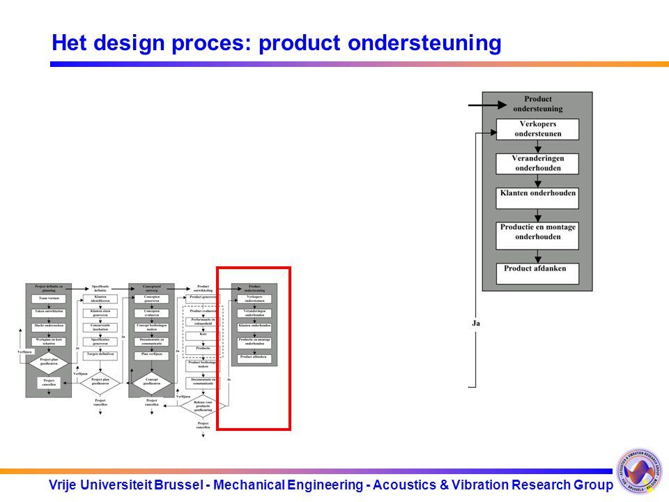 Vrije Universiteit Brussel - Mechanical Engineering - Acoustics & Vibration Research Group Het design proces: product ondersteuning