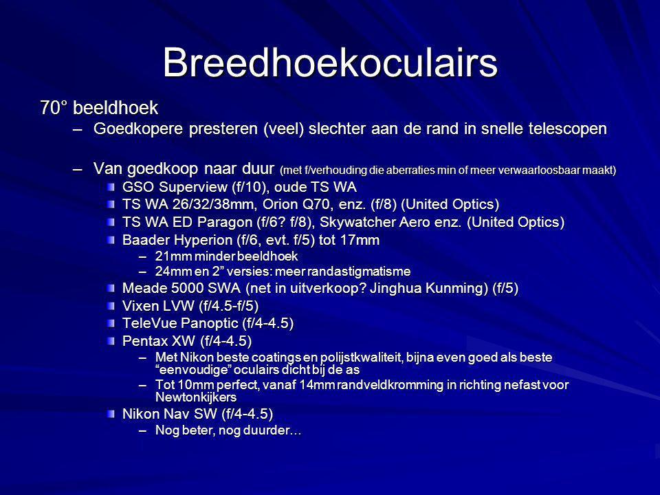 Breedhoekoculairs 70° beeldhoek –Goedkopere presteren (veel) slechter aan de rand in snelle telescopen –Van goedkoop naar duur (met f/verhouding die aberraties min of meer verwaarloosbaar maakt) GSO Superview (f/10), oude TS WA TS WA 26/32/38mm, Orion Q70, enz.