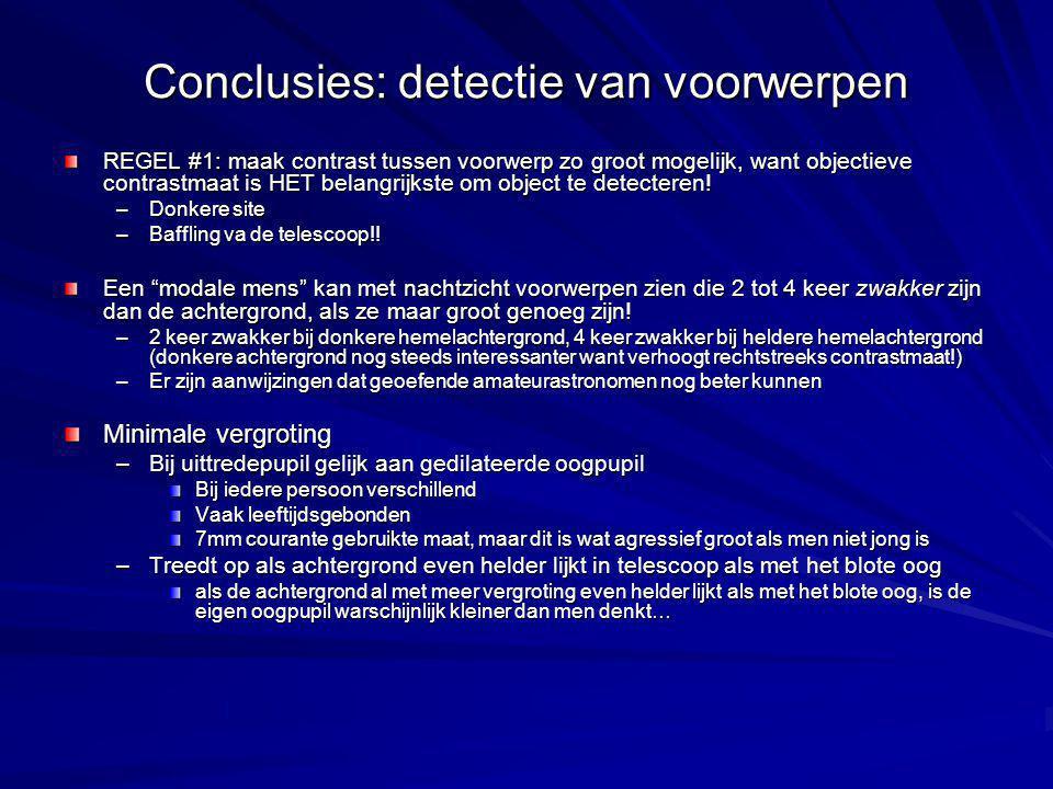Conclusies: detectie van voorwerpen REGEL #1: maak contrast tussen voorwerp zo groot mogelijk, want objectieve contrastmaat is HET belangrijkste om object te detecteren.