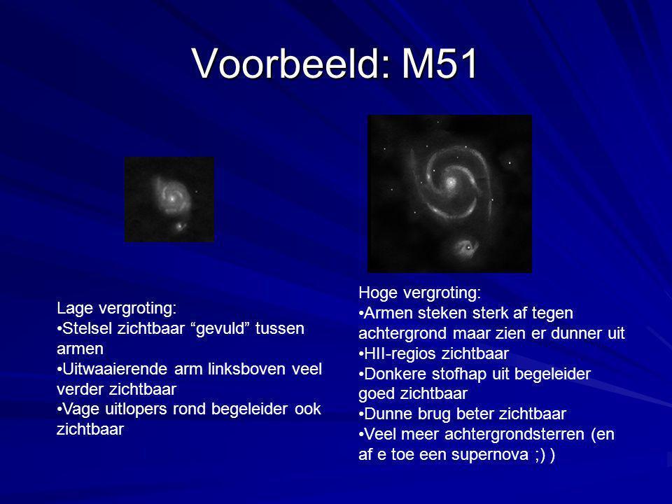 Voorbeeld: M51 Lage vergroting: Stelsel zichtbaar gevuld tussen armen Uitwaaierende arm linksboven veel verder zichtbaar Vage uitlopers rond begeleider ook zichtbaar Hoge vergroting: Armen steken sterk af tegen achtergrond maar zien er dunner uit HII-regios zichtbaar Donkere stofhap uit begeleider goed zichtbaar Dunne brug beter zichtbaar Veel meer achtergrondsterren (en af e toe een supernova ;) )