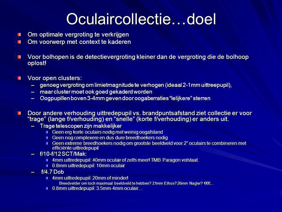 Oculaircollectie…doel Om optimale vergroting te verkrijgen Om voorwerp met context te kaderen Voor bolhopen is de detectievergroting kleiner dan de vergroting die de bolhoop oplost.