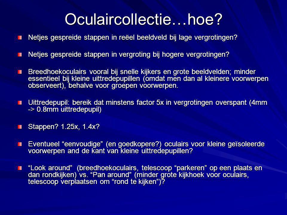 Oculaircollectie…hoe.Netjes gespreide stappen in reëel beeldveld bij lage vergrotingen.