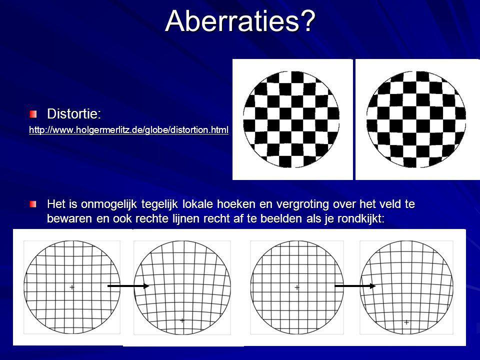 Aberraties?Distortie:http://www.holgermerlitz.de/globe/distortion.html Het is onmogelijk tegelijk lokale hoeken en vergroting over het veld te bewaren en ook rechte lijnen recht af te beelden als je rondkijkt: