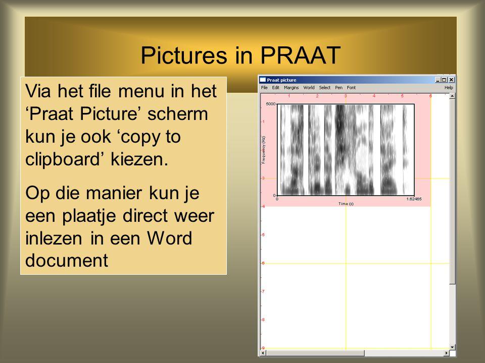 Pictures in PRAAT Je kunt ook via 'spectrum' een spectrogram maken van het geluid. Via 'draw' kun je dit spectrogram uittekenen in het Praat Picture s