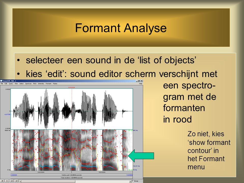 Pitch als apart object Via de selectie van een sound in de 'list of objects' direct een pitch object te creëren via 'periodicity' menu en 'sound: to p