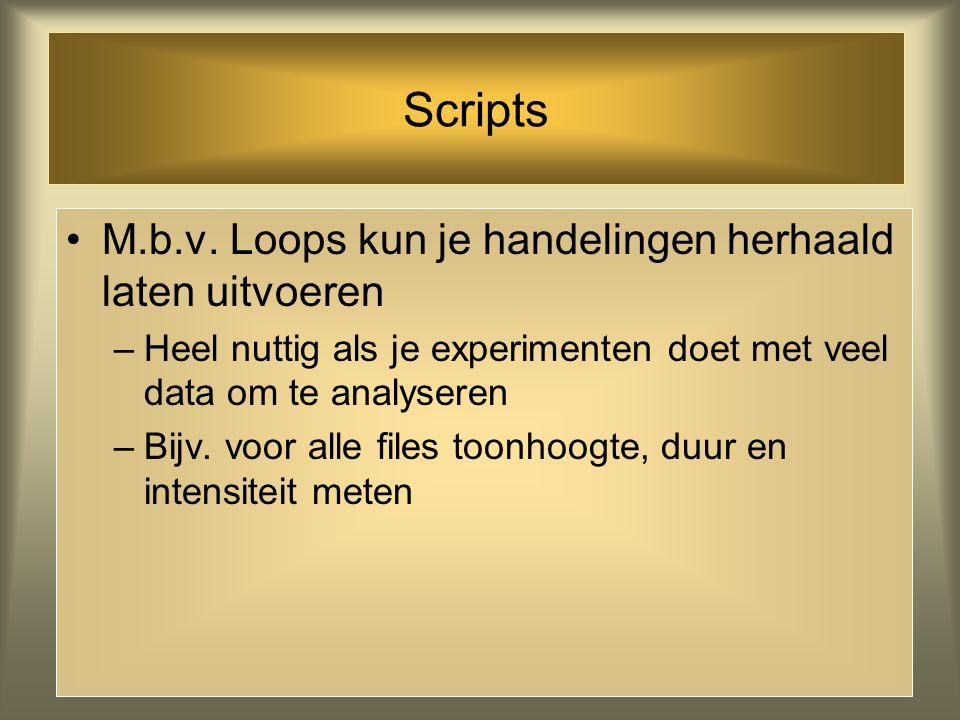 Scripts Erg handig is de History functie: het programma onthoudt de handelingen die je uitgevoerd hebt –Voer het met de hand uit en kies dan Paste His