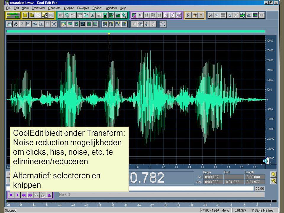 Normalize Normalize effect: geeft piekniveau (van luidheid) aan voor gehele file (of selectie) –Normalize to 100%: je bereikt de maximale amplitude di