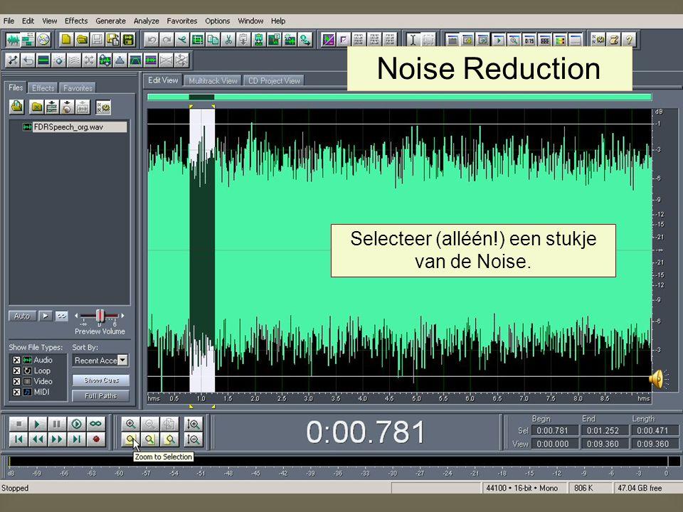CoolEdit biedt onder Transform: Noise reduction mogelijkheden om clicks, hiss, noise, etc. te elimineren/reduceren. Alternatief: selecteren en knippen