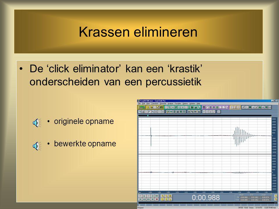 Krassen elimineren In CoolEdit zit een zg. 'click eliminator' die krassen op vinyl geluidsdragers herkent en elimineert originele opname bewerkte opna