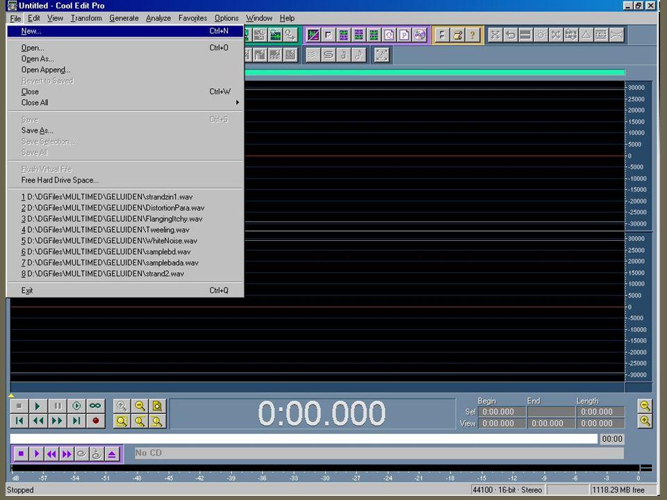 1.Geluid Opnemen via microfoon of audio-CD (of bijv.