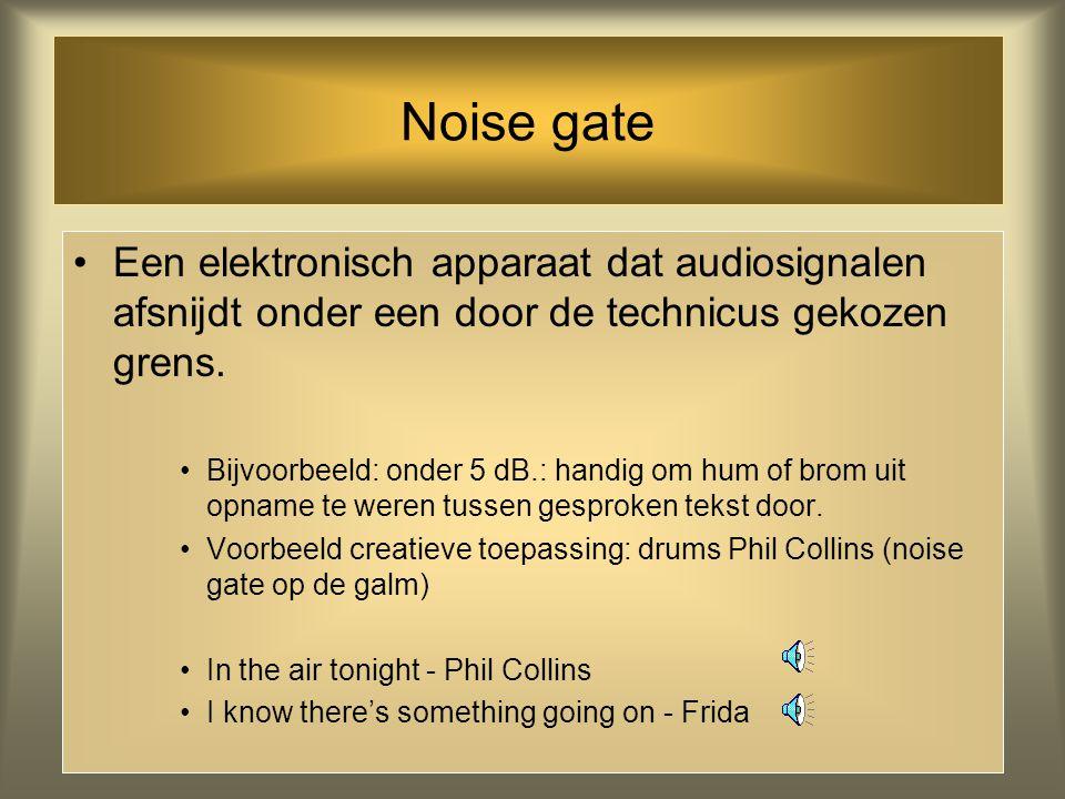 Hum Een lage brom die uit elektronische apparatuur komt, meestal afkomstig van de voeding hum in opname 'parametrisch' gefilterd plus noise reductie M