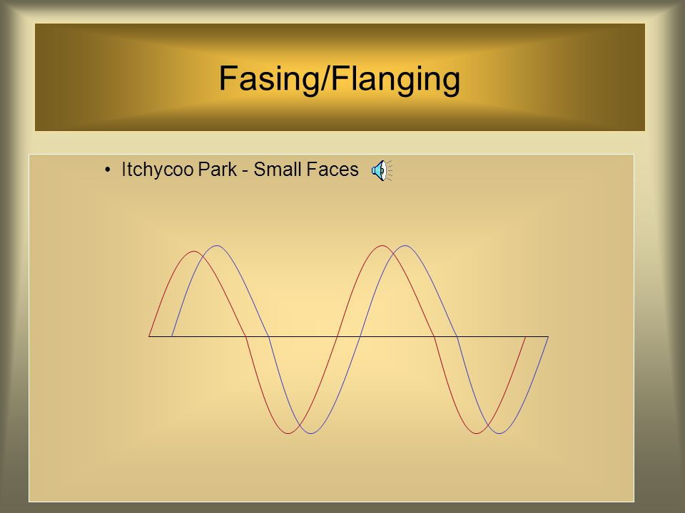 Fasing/Flanging Een effect dat verkregen wordt door een signaal in twee recorders in te voeren en de gecombineerde outputs op een andere machine op te