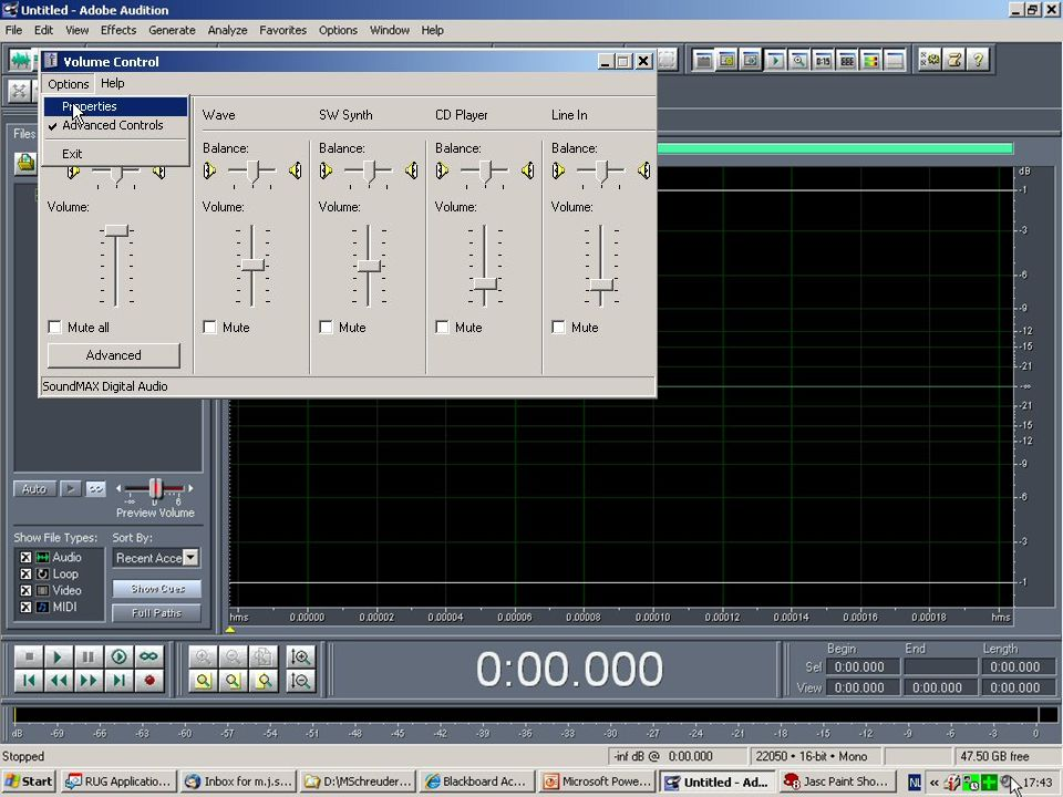 Let op: stel de Recording Controls goed in Dubbelklik op het geluidsicoon