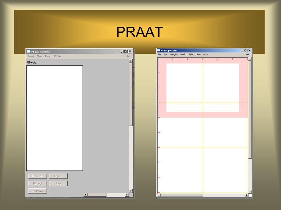 PRAAT : Cool Edit Cool Edit is met name geschikt om goede opnames te maken en deze te bewerken PRAAT is met name geschikt om fonetisch onderzoek mee u