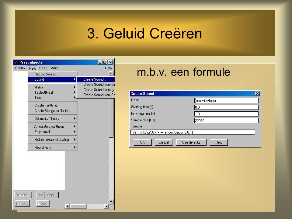 2. Geluid Laden vanuit file (bijv..Wav-file) Is een file langer dan een minuut, kies dan 'open long sound file'. Je bekijkt of beluistert dan steeds g
