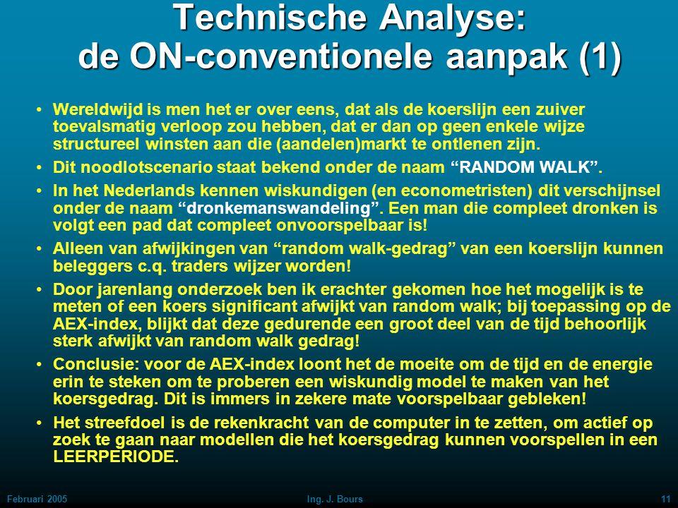 Februari 200510Ing. J. Bours Technische Analyse: de conventionele aanpak (5) Een in het oog springend nadeel is het naijlende karakter van voortschrij