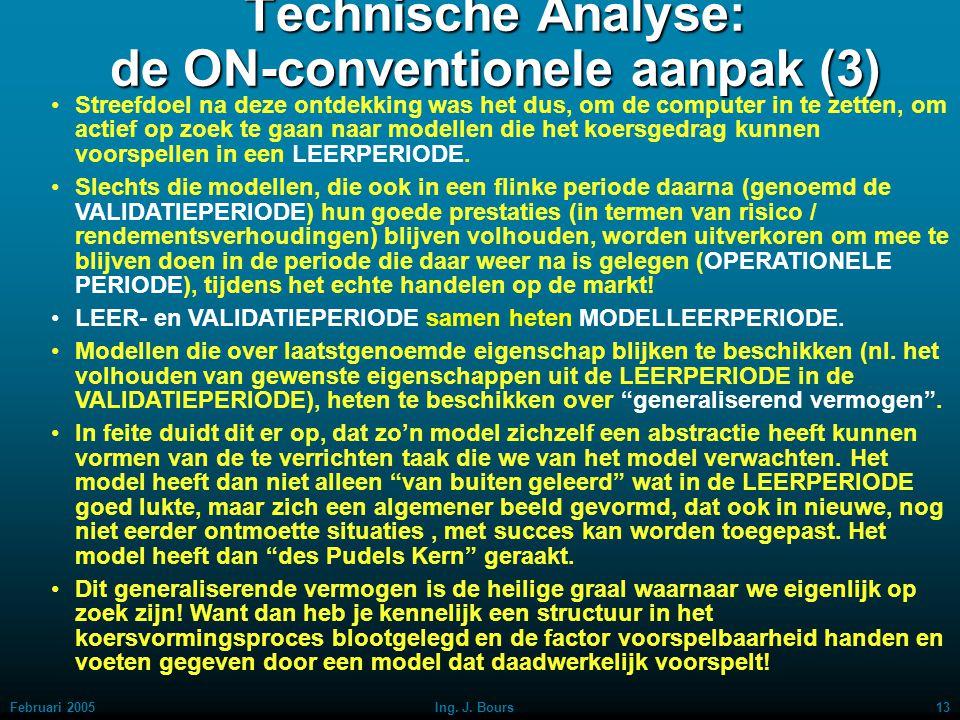 Februari 200512Ing. J. Bours Technische Analyse: de ON-conventionele aanpak (2) Mijn belangrijkste ontdekking van jaren her was dus, dat de AEX-koers