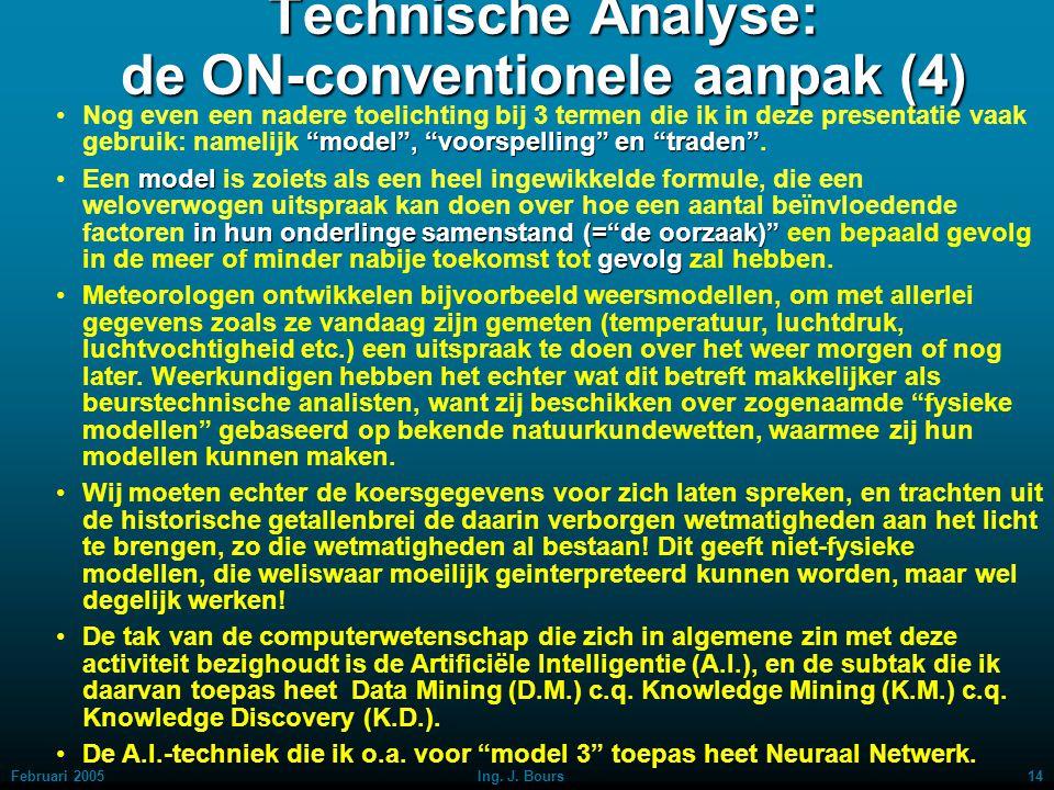 Februari 200513Ing. J. Bours Technische Analyse: de ON-conventionele aanpak (3) Streefdoel na deze ontdekking was het dus, om de computer in te zetten