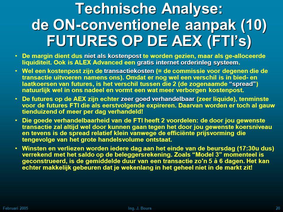 Februari 200519Ing. J. Bours Technische Analyse: de ON-conventionele aanpak (9) FUTURES OP DE AEX (FTI's) MARGINOm te mogen handelen in futures moet e
