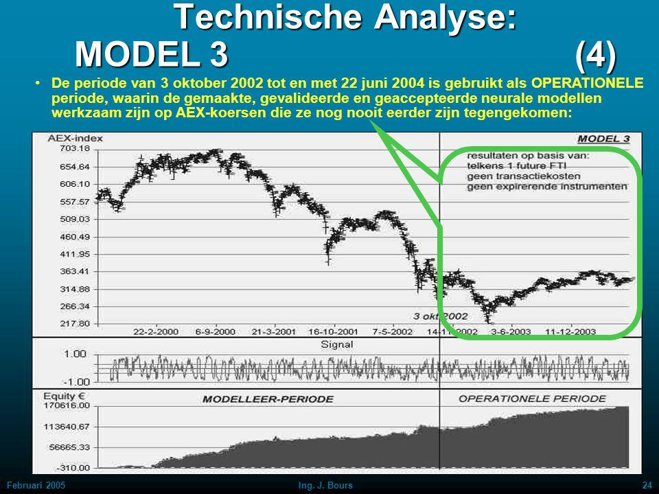 Februari 200523Ing. J. Bours Technische Analyse: MODEL 3 (3) De periode van 1 juli 1999 t/m 3 oktober 2002 is gebruikt als MODELLEER-periode, waarin n