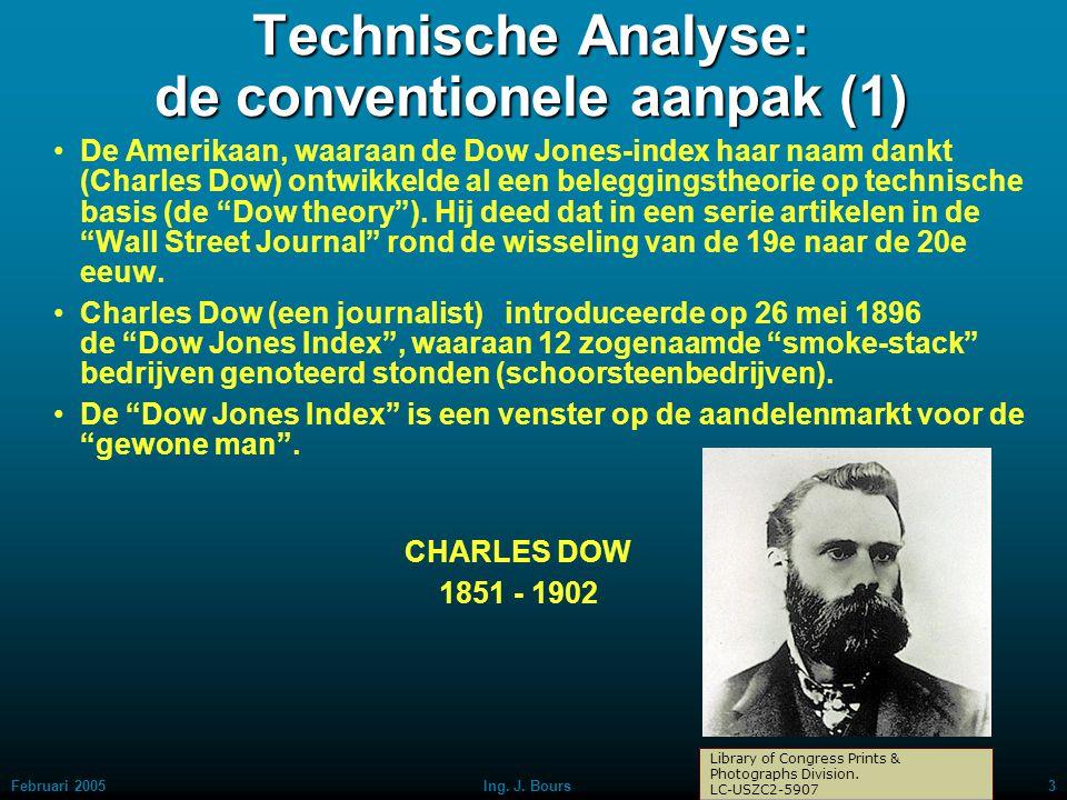 Februari 20052Ing. J. Bours Technische analyse De cijfers spreken hierbij voor zichzelf Voordeel: je haalt de emotie uit je beleggingsbeslissingen e