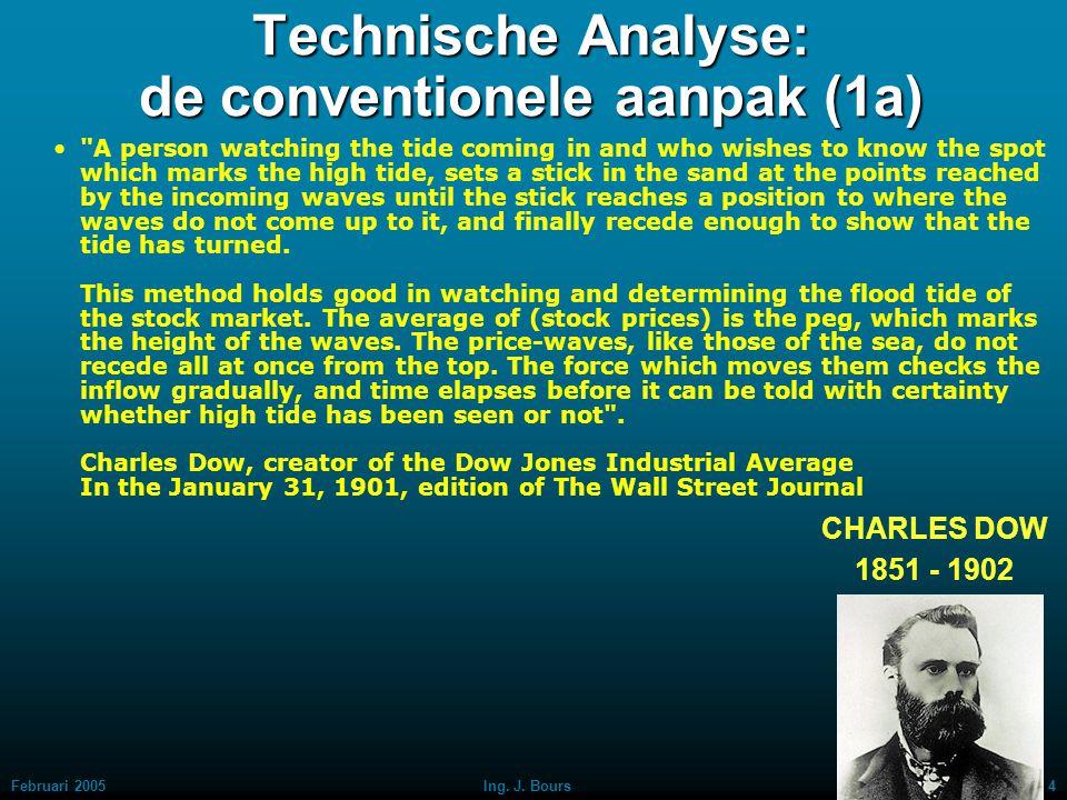 Februari 20053Ing. J. Bours Technische Analyse: de conventionele aanpak (1) De Amerikaan, waaraan de Dow Jones-index haar naam dankt (Charles Dow) ont