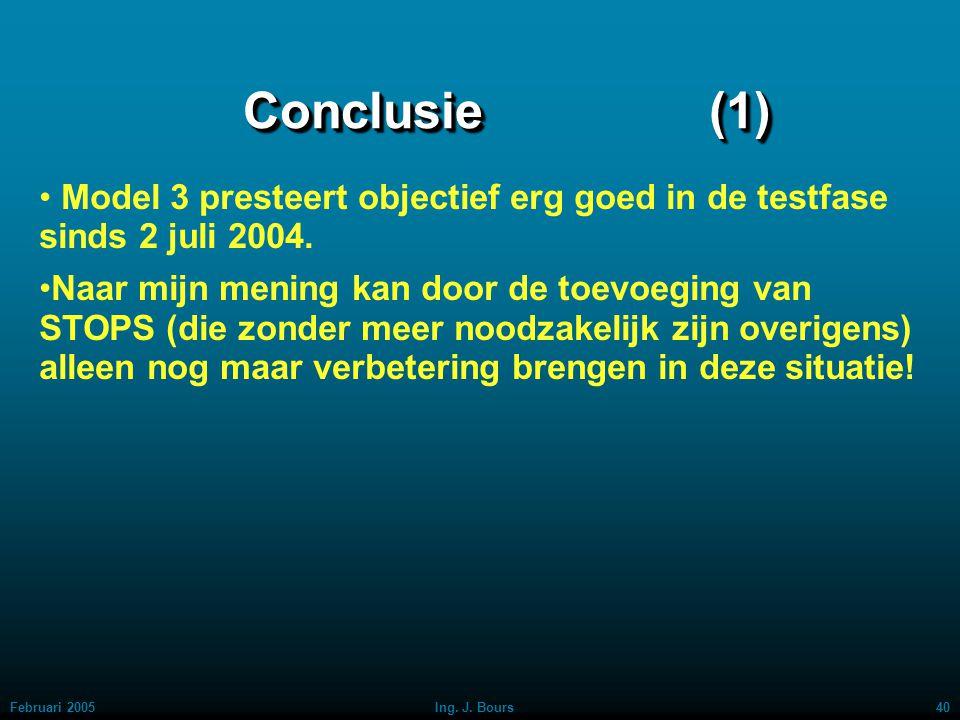Februari 200539Ing. J. Bours Technische Analyse: MODEL 3 (17) Het is duidelijk, dat er ongeveer eind november 2004 iets in de markt is veranderd, waar