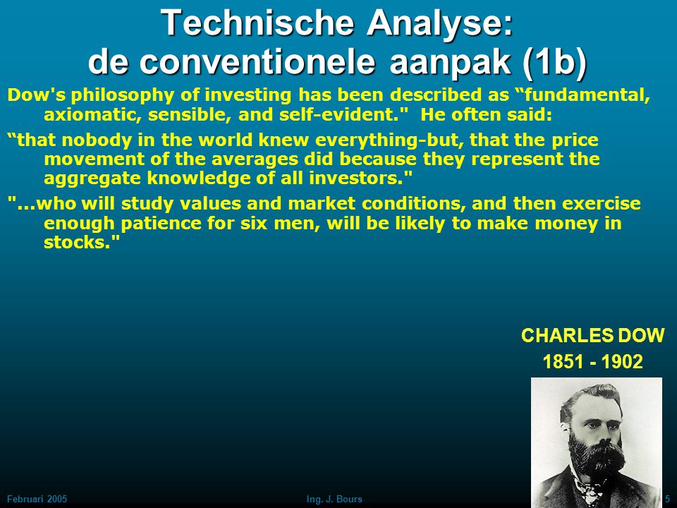 Februari 20054Ing. J. Bours Technische Analyse: de conventionele aanpak (1a)